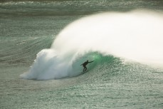 JC Susan rides a perfect wave in the Catlins south of Dunedin, New Zealand.