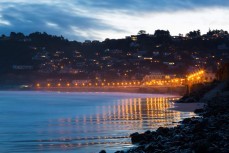 The lights of St Clair Esplanade, Dunedin, New Zealand.