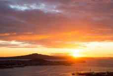 Sunrise over Rangitoto, Auckland CBD, New Zealand.