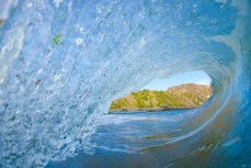 Inside a barelling wave at Blackhead Beach, Dunedin, New Zealand.