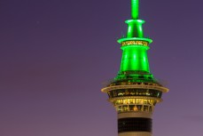 The sky tower at dusk, Auckland CBD, New Zealand.