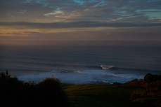 A remote reef peels deep in the Catlins at dawn, Catlins, Southland, New Zealand.